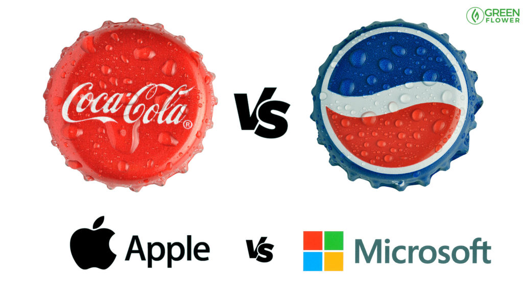 coke next to pepsi bottle cap, apple and microsoft logos