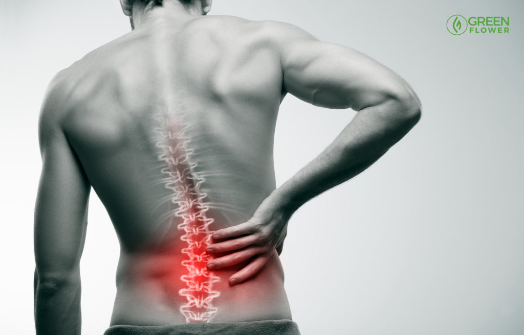 man with lower back pain shown in red on his spine before use of pain patch