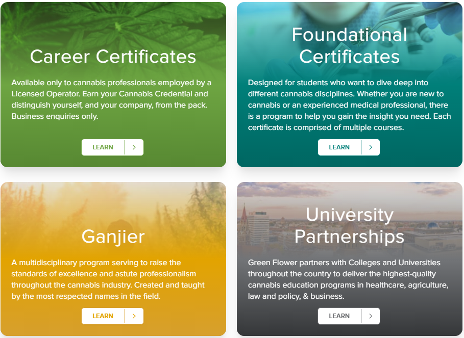 Choose from our new certificate & qualification options: career certificates, foundational certificates, Ganjier enrollment, or browse our available University Partnerships.