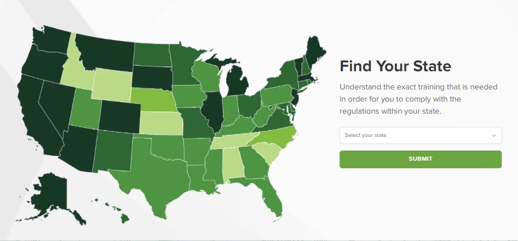 Working through your compliance requirements is simpler than ever with our new compliance map with drop-down state selection.